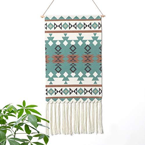 LOMOHOO aztekisch Makramee Wandbehang Böhmischer Stil Handgemachte Baumwolle Fransen Quaste Banner mit Kupfer Hängestange für Kinderzimmer Dekor Wand Dekoration (MS-Siriranka-Green)
