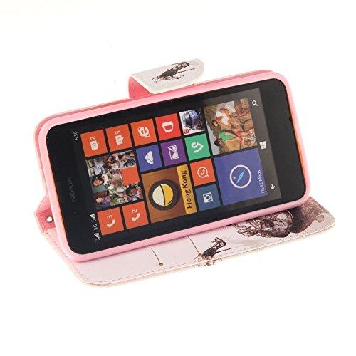 Nokia Lumia N630 Hülle,MCHSHOP PU Leder Cover Tasche Soft Case Schutz Hülle Handyhülle Bunt Painted Silikon Back Cover Bumper Schutz Hard Etui Schale Schutzhüllen mit Stand Magnetverschluss Credit Car Schöne Schuhe mit hohen Absätzen