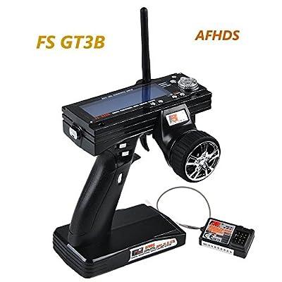 LITEBEE Flysky FS GT3B Fernsteuerung 3 Kanal 2.4GHz AFHDS RC Sender Transmitter mit Flysky GR3E RC Empfänger for RC Auto Boot by von LITEBEE
