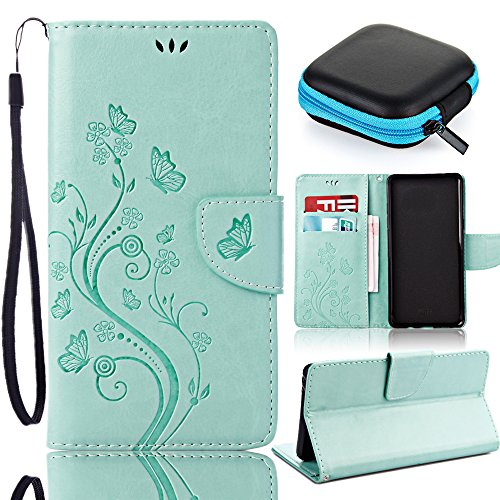 Sony Xperia E5 Brieftasche Hülle,Sony Xperia E5 Leather Wallet Case,Pershoo Stylish Grün Malen mit Schmetterling Muster PU Leather Case Flip Cover in Book Style Wallet Stand Card Slot Protective Case mit Standfunktion und Karte Halter für Sony Xperia E5 with 1 x Earphone Storage Box-Grün
