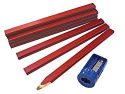Faithfull CPR12S Carpenters Pencils Tube with Sharpener
