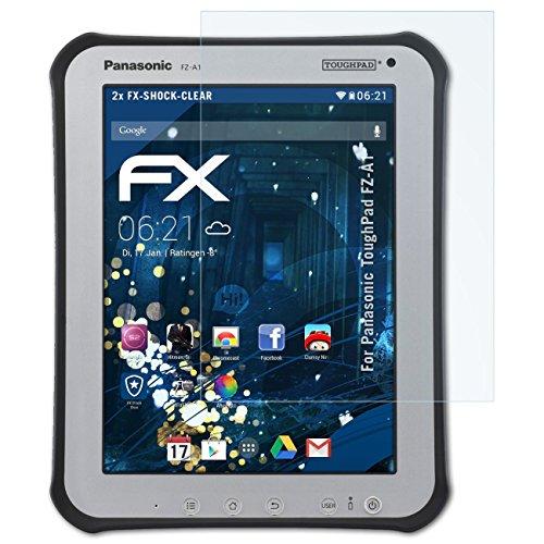 atFolix Schutzfolie kompatibel mit Panasonic ToughPad FZ-A1 Panzerfolie, ultraklare & stoßdämpfende FX Folie (2X)