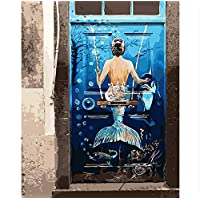 ayuxin Mermaid Door Oil Painting Picture By Number Abstract Pictures Digital Picture Coloring By Hand Unique Room Gift Home Decoration