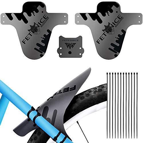 ODSPTER Schutzblech MTB Fahrrad, Einstellbare Vorne Hinten Schutzbleche Mountainbike Fahrrad Spritzschutz mit Kabelbinder für 24,26,27,27.5,28,29 Zoll Mountainbike MTB Mudguard (Schwarz 3 Stück)