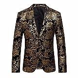 J - NEGOZIO Abbigliamento Uomo, Abbigliamento Uomo Invernale Cappotto Uomo, Abito da Uomo Floreale Risvolto con Risvolto Slim Fit Giacca Cappotto Blazer Elegante (M)