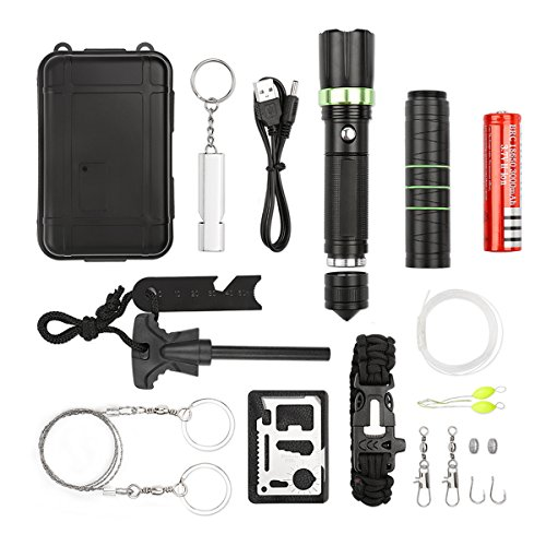 17 in 1 Outdoor Survival Kit Set, Emergency Survival Tool Set für Camping Wandern Klettern Ausflüge