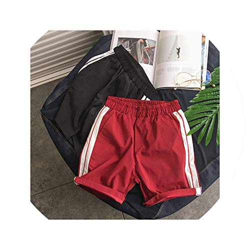 Men's Summer Contrast Fashion Casual Shorts Men's Striped Cotton Couple Style Elastic Band Beach Shorts Size S 3XL,Red,XXXL (Forever 21 Jogger)