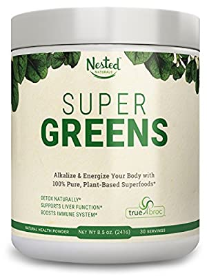 Super Greens | Veggie Greens Superfood Powder - 20 Organic Ingredients: Spirulina, Chlorella, Spinach, Broccoli and More - Plus Organic Fruits and Vegetables, Probiotics, and Enzymes | Non-GMO, No Soy
