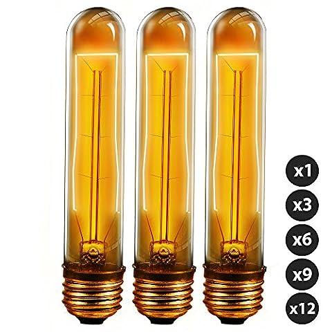Trellonics® Long-Life Premium Quality Edison Light Bulb Lamps 40 Watt E27 Screw Squirrel Cage Hair Pin Filament Long Bulb Tubular Valve Shaped T9-185 HP Dimmable 40W Vintage, Retro, Rustic, Industrial Lighting W