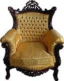Casa Padrino Barock Wohnzimmer Set Master Gold Muster / Mahagoni Braun – 3er Sofa + 2er Sofa + 1 Sessel - 2