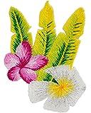 alles-meine.de GmbH 3 Stück _ Bügelbilder -  Hibiskus Blüten - weiß & Pink - Glanz Effekt  - 5 c..