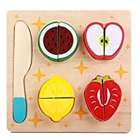 Keepwin Wooden Cutting Food Pretend Play Food Set Pretend Play Kitchen Set Early Development Educational, Learning Toy Gift For Toddler, Kids (Multicolor/A)