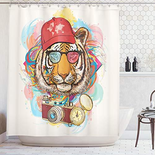 ABAKUHAUS Duschvorhang, Hipster Rapper Stil Tiger mit Sonnenbrille Hut und Kamera Künstler Hippie Animal Comic Druck, Wasser und Blickdicht aus Stoff mit 12 Ringen Bakterie Resistent, 175 X 200 cm
