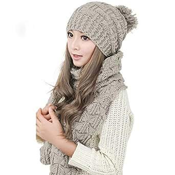 e1a5ef32a33b Bonnet Echarpe Femme Hiver Mode Mignon 2 Pièces Ensemble Beanie Crochet  Chapeau Pompom avec Foulard en