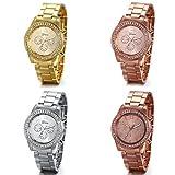 JewelryWe reloj de pulsera para mujer (4 unidades, diamantes de imitación, acero inoxidable), color dorado, plateado y oro rosa.