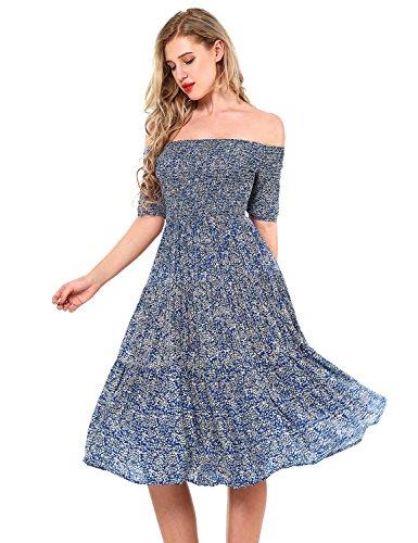 Yidarton Damen Kleid Sommer Maxi Kleider Kurzarm Trägerkleider Schulterfrei Cocktailkleider Floral BandeauKleid Partykleid Blau