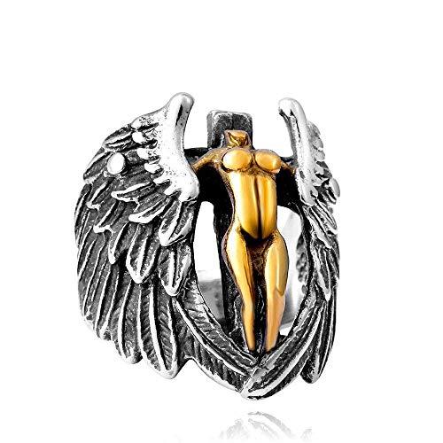 YABENI Mode Herrenschmuck Ringe, 316L Edelstahl Engels Flügel Ring für ()