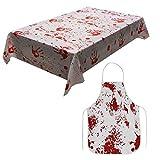 XONOR Zombie Blut Halloween Party Tischdecke mit Gruseliger blutiger Schürze für Halloween Party Dekoration