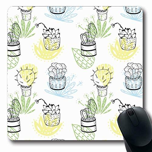 Luancrop Mousepad Oblong Houseplant Blue Blossom Muster Kaktus Abstrakte Figuren Hand Green Painting Natur Botanische Kakteen Büro Computer Laptop Notebook Mauspad, Rutschfester Gummi