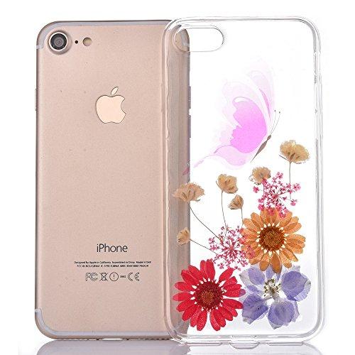 Cassa in Molle Rubber per Apple iPhone 6/6s 4.7(NON iPhone 6Plus/6sPlus 5.5), CLTPY Black Handmade Naturale Flower Essiccate Fiore Case Protettiva Ultra Sottile Morbido e Flessibile in TPU Silicone  Fiore 17