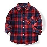 OCHENTA Hemden Jungen Langarm Plaid Kariert Freizeithemd E009 Marine Rot Asiatisch 110cm-(DE 104cm)