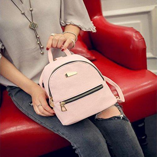 Imagen de goodsatar de las mujeres nuevo cuero artificial  bolso de viaje  escolar 19x17x12cm rosado, un tamaño  alternativa