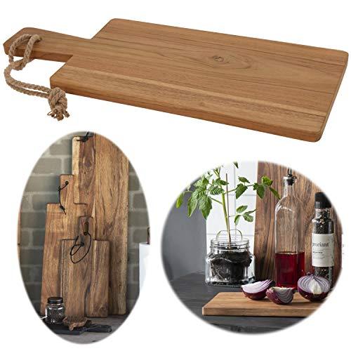 LS-Design Teak-Holz Vesperbrett 49cm Braun Schneidebrett Tranchierbrett Griffbrett