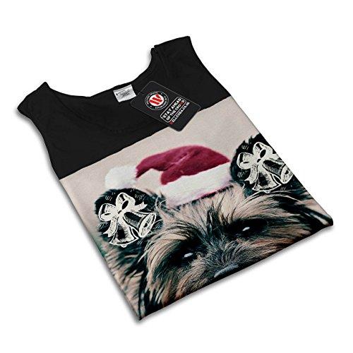 Niedlich Weihnachten Hund Yorkshire Damen Schwarz S-2XL Muskelshirt | Wellcoda Schwarz