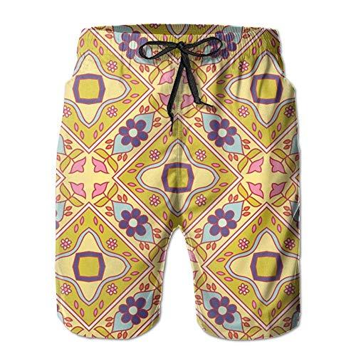 Ytavv 3D Print Diagonal Flowers Spring Pallet Fabric (4893) Shorts Fast Dry Beach Board Shorts Men's Swim Trunks/XXL Diagonale Checker