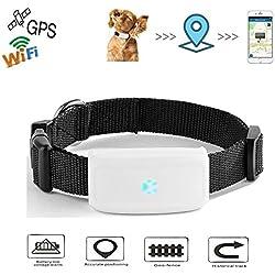 Mini GPS Localizador de Collar para Mascotas, impermeable Rastreador collar para perros y gatos Aplicación para smartphone PC Tablet
