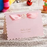 vstoy Taufe Tagen Feiern Einladung Karten Lovely Pink Party Einladungen für die Girl Baby Dusche mit niedlichem Baby Car frei Pink Umschlag und Dichtungen 20Stück rose