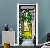 XIAOXINYUAN 3D Tür Aufkleber Gewölbten Tür Holz Tapeten DIY Abnehmbare Selbstklebende Wandbilder Für Schlafzimmer Büro Tür Home Decor