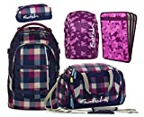 satch pack by ergobag 5er Set Schulrucksack + Sporttasche + Penbox Berry Carry & Regencape + Heftebox Purple
