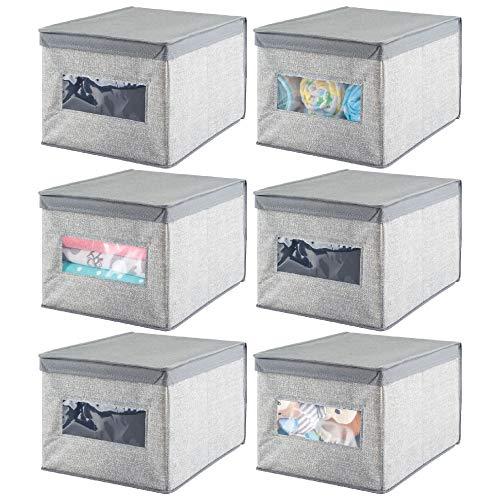 mDesign 6er-Set Wickeltisch-Organizer – hochwertige Aufbewahrungsbox aus atmungsaktiver Kunstfaser – ideal für Babyzubheör – ebenso als Kleiderschrank-Organizer verwendbar – grau