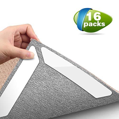 Digekey Antirutschmatte für Teppich, 16 Stück Teppichunterlage Antirutschmatte Waschbar Teppich Ecke Rutschfest Teppichstopper Wiederverwendbar Rutschschutz für Teppich