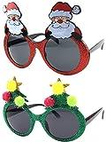 Accessori per il costume del bicchiere da sole di Natale di Natale Albero di Natale di scintillio e occhiali da sole della Santa