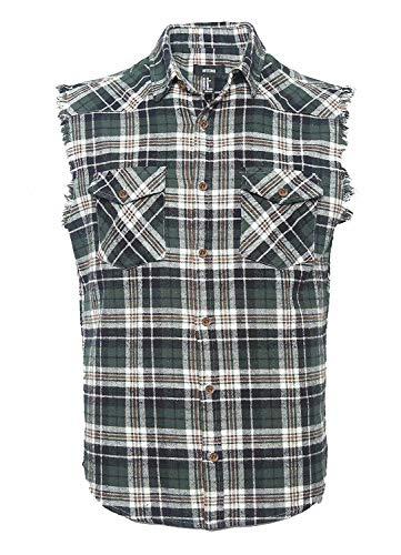 Nutexrol Herren Ärmellose Kariert Flanell Hemden Freizeithemd aus Baumwolle Sleeveless T-Shirt 100% Baumwolle