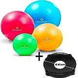 Gymnastikball »Pluto« inklusive Ballschale / Robuster Sitzball und Fitnessball von 55 cm bis 85 cm / verschiedene Größen und Farben (pink blau rot türkis grün schwarz)