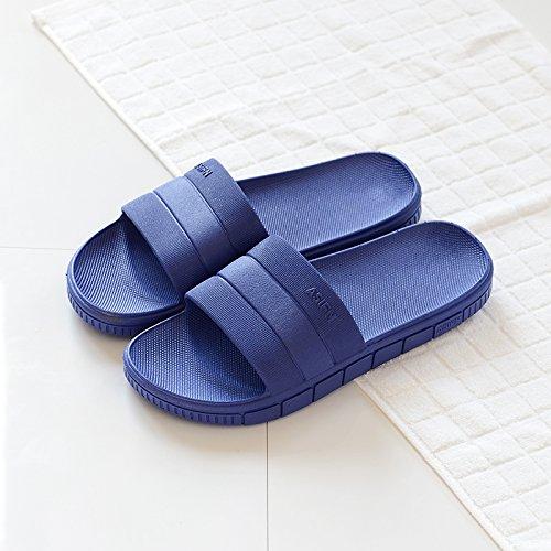 DogHaccd pantofole,Il bagno pantofole femmina estate home home interno antiscivolo in plastica spessa raffreddare le coppie ciabatte da bagno estate maschio Blu scuro2