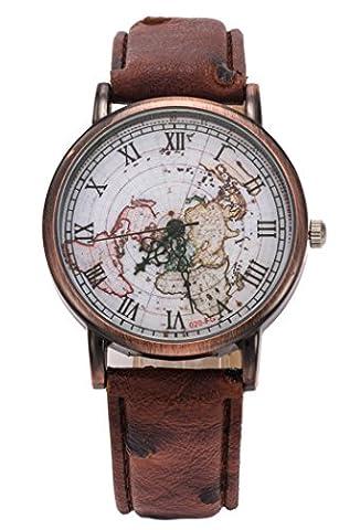 Coxeer montres-bracelets femme Montres bracelet quartz Rétro Montres femme romaine chiffres bracelet en cuir similicuir