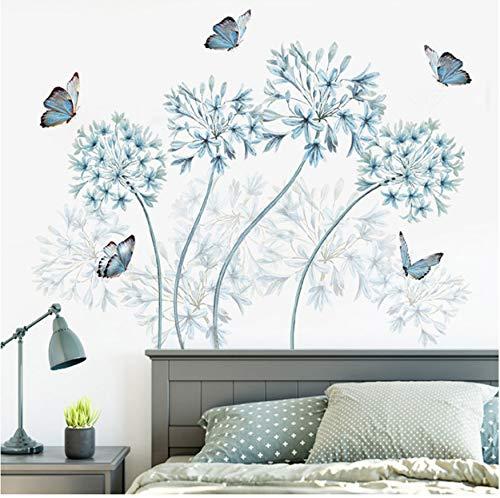 Zhimu fiori blu farfalla adesivi murali decorazioni per la casa testiera parete murale poster sfondo carta da parati decorativa art decalcomanie