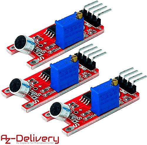 Azdelivery 3 X Ky 038 Microfono Deteccion De Sonido De Alta Sensibilidad Modulo Pequeño Para Arduino Con Ebook Incluido
