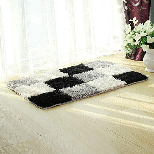 fanjow® microfibra alfombra geométrico Accent Shag alfombra de rombos diseño antideslizante lavable moderno Shaggy área alfombra alfombra para dormitorio, baño, poliéster y mezcla de poliéster, negro, 50*80cm(20'*31')