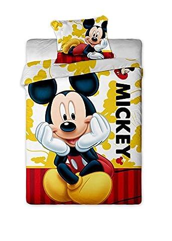 Jerry Fabrics JF0131 Bettwäscheset Mickey 2015, 1x Bettdecke und 1x Kissenhülle, 140 x 200/70 x 90