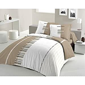 Housse de Couette PERTINENCE taupe 240x260 + 2 TO