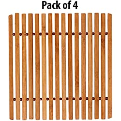 HOKIPO Square Bamboo Table Coaster, Pan Pot Holder, 18 x 18 cm, 4 Piece Set
