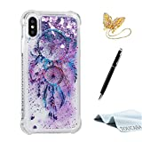 TOUCASA Funda iPhone X, Glitter Brillante Liquida Transparente TPU Silicona,Funda Móvil Case Líquido Quicksand Anti-arañazos Brillante Case Cover para iPhone X-Atrapasueños
