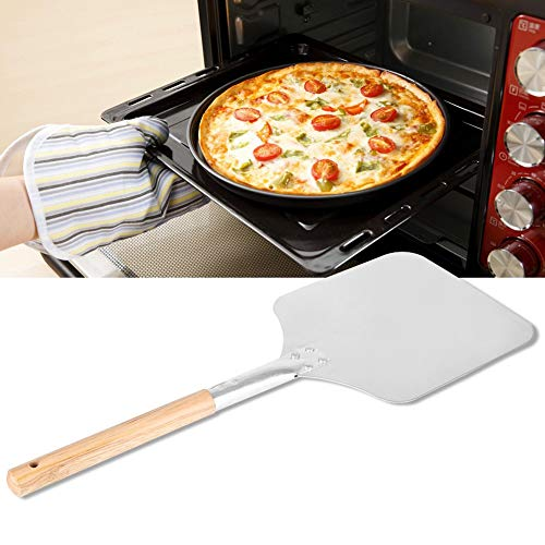 Ejoyous Pizzaschaufel Pizza Peel, Aluminium Klinge Paddle Slicer Backen Werkzeuge Küche Restaurant Baker Paddle mit Holzgriff für Pizza Brotbacken, 9x11x23inch Aluminium Pizza Peel