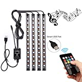 AveyLum USB LED Streifen Auto Innenbeleuchtung Musik Sync Underdash LED Lichtleiste RGB Wasserdicht LED Stripes, 4x22cm