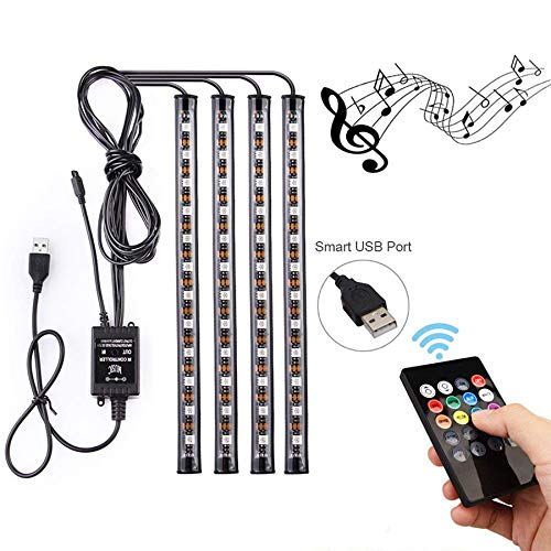 ABelle USB LED Streifen Auto Innenbeleuchtung Musik Sync Underdash LED Lichtleiste RGB Wasserdicht LED Stripes, 4x22cm -